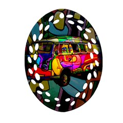 Hippie Van  Oval Filigree Ornament (two Sides) by Valentinaart