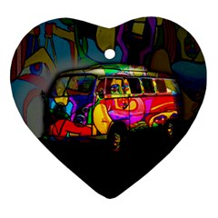 Hippie Van  Ornament (heart) by Valentinaart