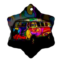 Hippie Van  Snowflake Ornament (two Sides) by Valentinaart