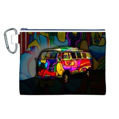 Hippie Van  Canvas Cosmetic Bag (l) by Valentinaart