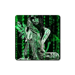 Cyber Angel Square Magnet by Valentinaart