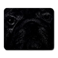 Black Bulldog Large Mousepads by Valentinaart