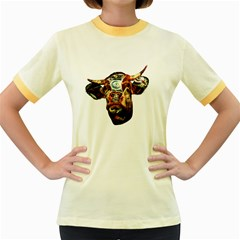 Artistic Cow Women s Fitted Ringer T Shirts by Valentinaart