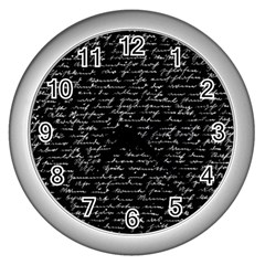 Handwriting  Wall Clocks (silver)  by Valentinaart