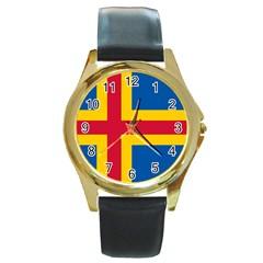 Flag Of Aland Round Gold Metal Watch by abbeyz71
