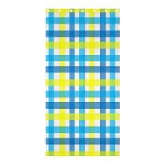 Gingham Plaid Yellow Aqua Blue Shower Curtain 36  X 72  (stall)  by Simbadda