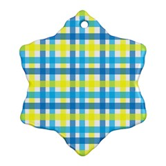 Gingham Plaid Yellow Aqua Blue Ornament (snowflake) by Simbadda