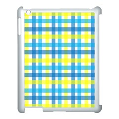 Gingham Plaid Yellow Aqua Blue Apple Ipad 3/4 Case (white) by Simbadda