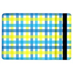Gingham Plaid Yellow Aqua Blue Ipad Air 2 Flip by Simbadda