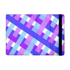 Geometric Plaid Gingham Diagonal Apple Ipad Mini Flip Case by Simbadda