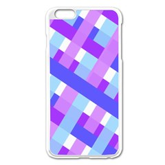 Geometric Plaid Gingham Diagonal Apple Iphone 6 Plus/6s Plus Enamel White Case by Simbadda