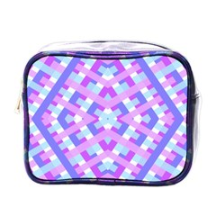 Geometric Gingham Merged Retro Pattern Mini Toiletries Bags by Simbadda