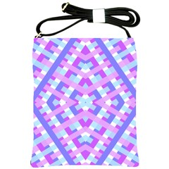 Geometric Gingham Merged Retro Pattern Shoulder Sling Bags by Simbadda