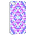Geometric Gingham Merged Retro Pattern Apple iPhone 4/4s Seamless Case (White) Front