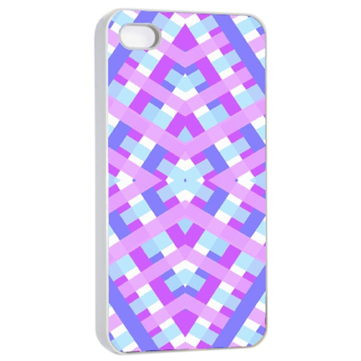 Geometric Gingham Merged Retro Pattern Apple iPhone 4/4s Seamless Case (White)