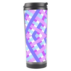 Geometric Gingham Merged Retro Pattern Travel Tumbler by Simbadda