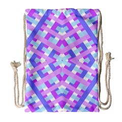 Geometric Gingham Merged Retro Pattern Drawstring Bag (large) by Simbadda