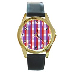 Gingham Pattern Checkered Violet Round Gold Metal Watch by Simbadda