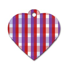 Gingham Pattern Checkered Violet Dog Tag Heart (two Sides) by Simbadda