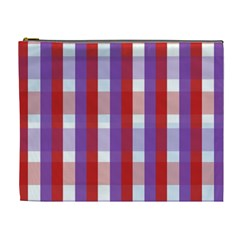Gingham Pattern Checkered Violet Cosmetic Bag (xl) by Simbadda