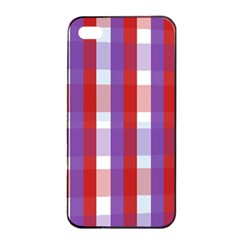 Gingham Pattern Checkered Violet Apple Iphone 4/4s Seamless Case (black) by Simbadda
