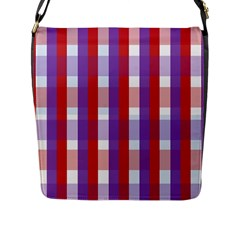 Gingham Pattern Checkered Violet Flap Messenger Bag (l)  by Simbadda