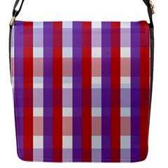 Gingham Pattern Checkered Violet Flap Messenger Bag (s) by Simbadda