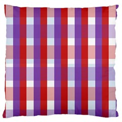 Gingham Pattern Checkered Violet Large Flano Cushion Case (two Sides) by Simbadda