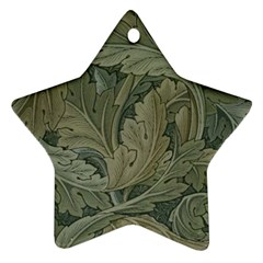 Vintage Background Green Leaves Ornament (star) by Simbadda