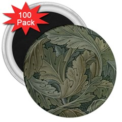 Vintage Background Green Leaves 3  Magnets (100 pack) by Simbadda