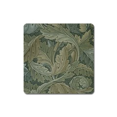 Vintage Background Green Leaves Square Magnet by Simbadda