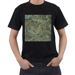 Vintage Background Green Leaves Men s T Shirt (black) (two Sided) by Simbadda