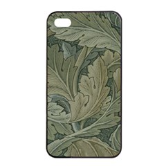Vintage Background Green Leaves Apple Iphone 4/4s Seamless Case (black) by Simbadda