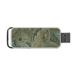 Vintage Background Green Leaves Portable Usb Flash (one Side) by Simbadda