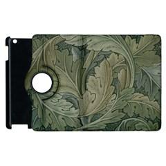 Vintage Background Green Leaves Apple Ipad 2 Flip 360 Case by Simbadda