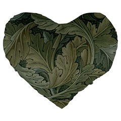 Vintage Background Green Leaves Large 19  Premium Heart Shape Cushions by Simbadda