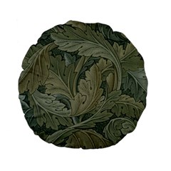 Vintage Background Green Leaves Standard 15  Premium Flano Round Cushions by Simbadda