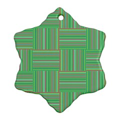Geometric Pinstripes Shapes Hues Snowflake Ornament (two Sides) by Simbadda