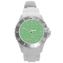 Geometric Pinstripes Shapes Hues Round Plastic Sport Watch (l) by Simbadda