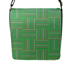 Geometric Pinstripes Shapes Hues Flap Messenger Bag (l)  by Simbadda