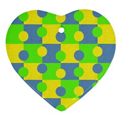 Abric Cotton Bright Blue Lime Ornament (heart) by Simbadda
