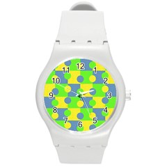 Abric Cotton Bright Blue Lime Round Plastic Sport Watch (m) by Simbadda