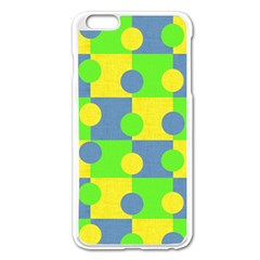 Abric Cotton Bright Blue Lime Apple Iphone 6 Plus/6s Plus Enamel White Case by Simbadda