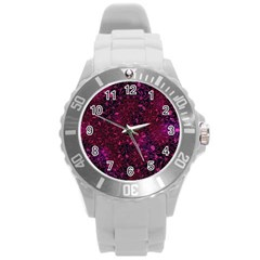 Retro Flower Pattern Design Batik Round Plastic Sport Watch (l) by Simbadda
