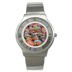 Art Background Bowl Ceramic Color Stainless Steel Watch by Simbadda