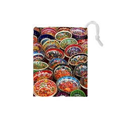 Art Background Bowl Ceramic Color Drawstring Pouches (small)  by Simbadda