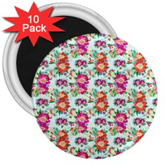 Floral Flower Pattern Seamless 3  Magnets (10 Pack)  by Simbadda
