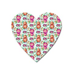 Floral Flower Pattern Seamless Heart Magnet by Simbadda