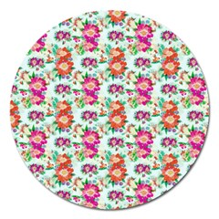 Floral Flower Pattern Seamless Magnet 5  (round) by Simbadda