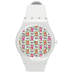 Floral Flower Pattern Seamless Round Plastic Sport Watch (m) by Simbadda